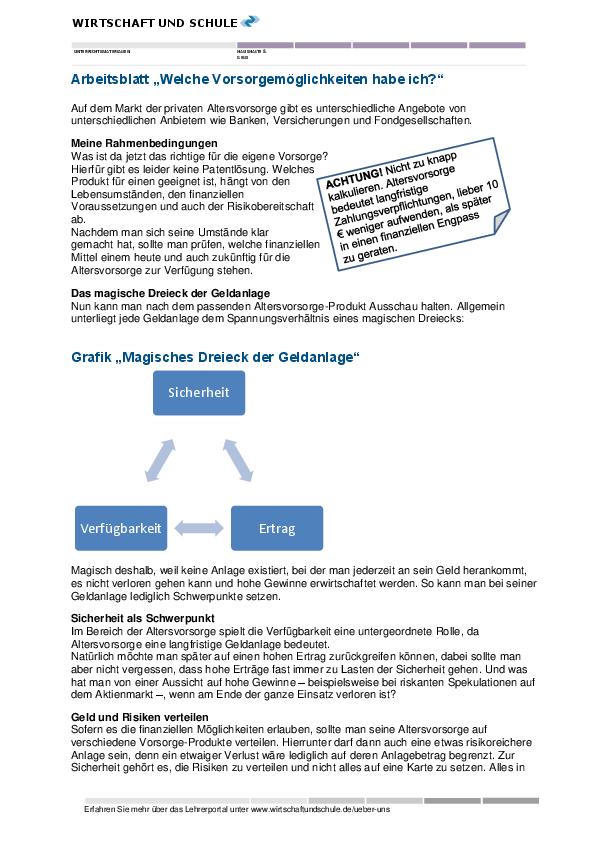 Arbeitsblatt Rente Vorsorgemöglichkeiten - Wirtschaft und Schule